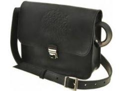 Вместительная небольшая модная черная кожаная бохо-сумка