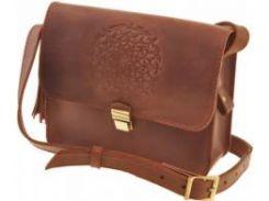 Вместительная небольшая модная кожаная бохо-сумка коньячного цвета