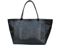 Красивая и вместительная черная сумка из натуральной кожи под крокодила