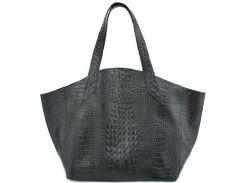 Изящная черная сумка красивой формы из натуральной кожи под крокодила