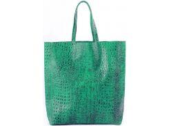 Большая модная зеленая сумка из натуральной кожи под крокодила