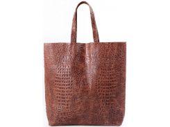 Большая модная коричневая сумка из натуральной кожи под крокодила