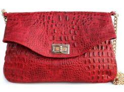 Шикарная красная кожаная сумочка-клатч на цепочке