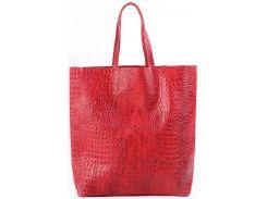 Большая модная красная сумка из натуральной кожи под крокодила