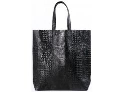 Большая модная черная сумка из натуральной кожи под крокодила