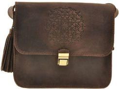 Вместительная небольшая модная ореховая кожаная бохо-сумка