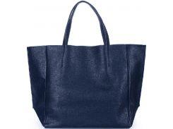 Стильная кожаная сумка темно-синего цвета