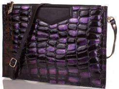 Черный с фиолетовыми блестками восхитительный кожаный клатч