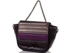 Кокетливая черная кожаная сумочка-клатч с сочетанием серого, бронзового и сливового цветов на клапане