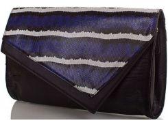 Нарядный черный кожаный клатч с бело-синим клапаном