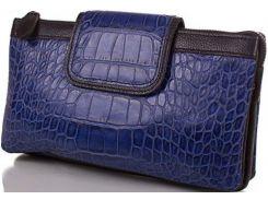 Вместительный темно-синий клатч из натуральной кожи тисненой под кожу крокодила