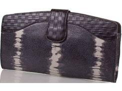 Необыкновенно красивый черный кожаный клатч