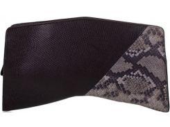 Необычной формы черно-серо-бежевый кожаный клатч