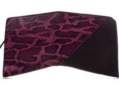 Необычной формы черно-пурпурный кожаный клатч