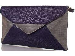 Темно-синий с серебристым вместительный клатч из натуральной кожи с чешуйчатой поверхностью