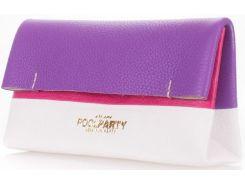 Белый с фиолетовым и розовым небольшой кожаный клатч-косметичка