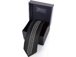 Черный шелковый галстук с оригинальным тонким узором