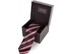 Черный стильный галстук в красно-белую полоску