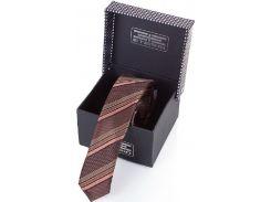Восхитительный шелковый галстук в коричнево-бежевые диагональные полоски