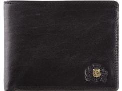 Стильное черное портмоне-кредитница из телячьей кожи