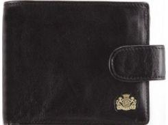 Качественное черное кожаное портмоне с откидным отделением