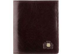 Универсальное мужское портмоне из натуральной кожи темно-коричневого цвета