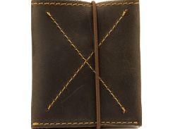 Тонкий коричневый кожаный мужской кошелек-портмоне с контрастной строчкой на резинке
