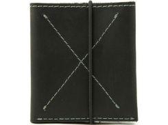 Тонкий черный кожаный мужской кошелек-портмоне с контрастной строчкой на резинке