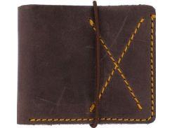 Стильное коричневое кожаное портмоне  в стиле western с контрастной строчкой