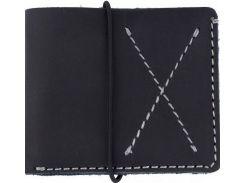 Стильное черное кожаное портмоне в стиле western с контрастной строчкой