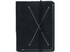 Тонкий мужской кошелек-портмоне черного цвета из натуральной кожи