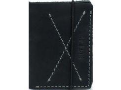 Стильное компактное черное портмоне из натуральной кожи