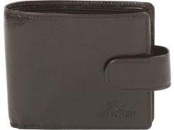 Стильное черное кожаное портмоне с застежкой на заклепке