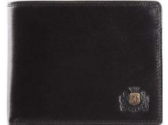 Стильное тонкое кожаное портмоне черного цвета