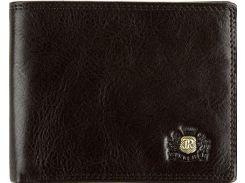 Стильное коричневое портмоне-кредитница из телячьей кожи
