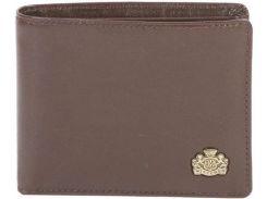 Стильное небольшое портмоне из натуральной кожи шоколадного цвета