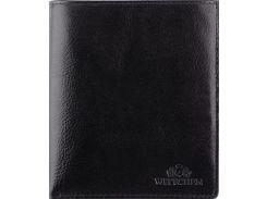 Универсальное черное кожаное мужское портмоне с отделением для документов