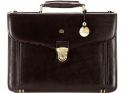Стильный деловой мужской портфель из натуральной кожи коричневого цвета