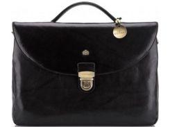 Шикарный черный кожаный портфель с четырьмя отделениями