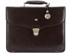 Небольшой стильный коричневый кожаный портфель