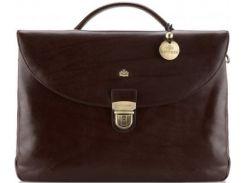 Шикарный коричневый кожаный портфель с четырьмя отделениями