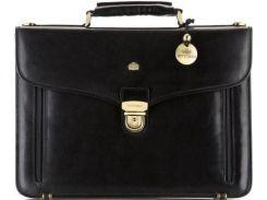 Стильный деловой мужской портфель из натуральной кожи черного цвета