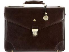 Стильный коричневый кожаный портфель с отделением для ноутбука