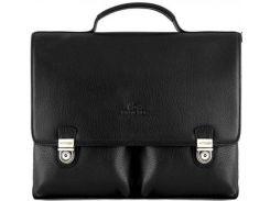 Стильный черный кожаный портфель с расширением