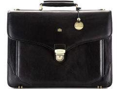 Деловой черный кожаный портфель с отделением для ноутбука