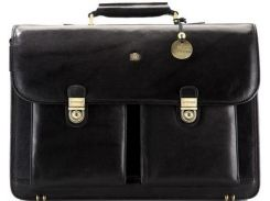 Вместительный черный кожаный портфель с двумя замками