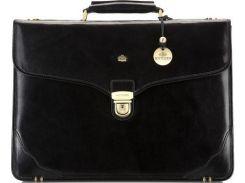 Классический черный кожаный портфель с отделением для ноутбука