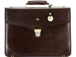 Классический коричневый кожаный портфель с отделением для ноутбука