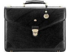 Стильный черный кожаный портфель с отделением для ноутбука