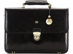 Качественный кожаный портфель черного цвета
